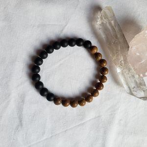 Agate Wood Stone Beaded Bracelet Yoga Stretch